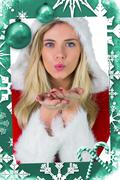 Stock Illustration of Composite image of pretty girl in santa outfit blowing