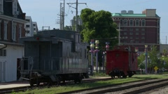 Vicksburg Mississippi Old Rail Road Caboose and Depot Stock Footage