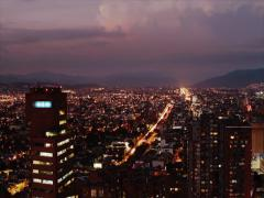 A day-to-night timelapse of Bogota's International Center Stock Footage
