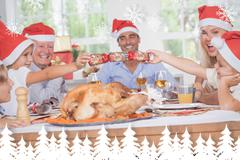 Composite image of siblings pulling a christmas cracker - stock illustration