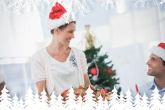 Cheerful woman wearing santa hat and bringing a roast chicken - stock illustration