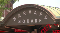 Harvard Square Sign Stock Footage
