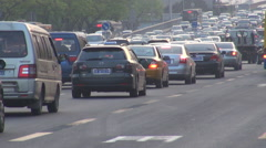 Heavy traffic street Beijing day jam car pass rush hour highway crowded freeway  Stock Footage