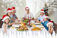 Stock Illustration of Composite image of happy family in santa hats having christmas meal