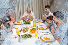 Family of six saying grace before meal at dining table - stock illustration