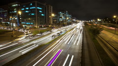 Nightime timelapse of traffic on Bogota's North Highway Stock Footage