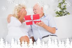 Composite image of old man offering a gift to the elderly woman - stock illustration