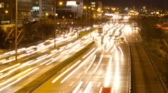 Stock Video Footage of Nightime timelapse of highway traffic in Bogota, Colombia