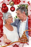 Stock Illustration of Senior couple in love in christmas