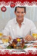 Smiling man eating turkey in christmas dinner - stock illustration