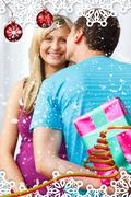 Stock Illustration of Composite image of man wait one kiss from his girlfriend