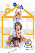 Family having fun with yellow drawing house Stock Illustration