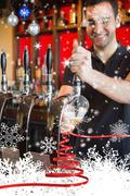 Handsome barkeeper pulling a pint of beer - stock illustration