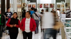 Timelapse of people at the Gran Estacion Shopping Mall in Bogota Stock Footage