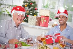 Composite image of family swapping christmas presents - stock illustration