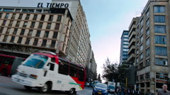 "Street timelapse in front of the ""El Tiempo"" building in downtown Bogota Stock Footage"