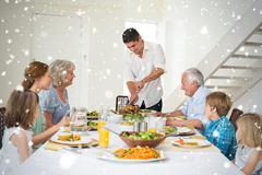 Stock Illustration of Composite image of father serving meal to family