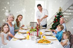 Stock Illustration of Composite image of family having christmas meal at dining table