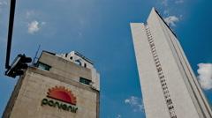 Timelapse of Davivienda, Banco de Occidente, and Porvenir Towers in Bogota Stock Footage