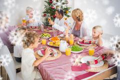 Composite image of adults raising their glasses at christmas dinner - stock illustration