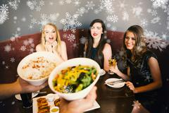 Composite image of happy friends looking at the salad - stock illustration