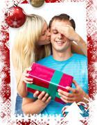 Stock Illustration of Composite image of young woman giving a present to her husband