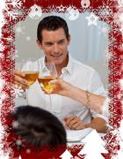 Man toasting with his mother in a christmas dinner Stock Illustration