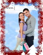 Happy couple with their shopping bags under address bar - stock illustration