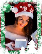 Pretty brunette in santa outfit opening gift - stock illustration