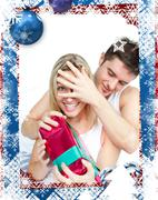Stock Illustration of Composite image of boyfriend giving a surprise to her girlfriend