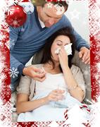 Stock Illustration of Handsome man taking care of his sick girlfriend