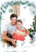Happy little girl with her father holding a christmas gift Stock Illustration