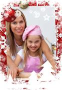 Stock Illustration of Composite image of mother and daughter baking in the kitchen