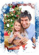 Composite image of dad and little girl playing with christmas presents Stock Illustration