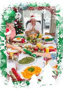 Cheerful family at dining table for christmas dinner - stock illustration