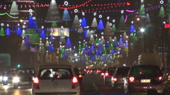 Beautiful decoration boulevard night traffic car urban road Christmas holiday  - stock footage