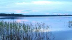 Sunset on the lake Somino, Valdaysky district, Novgorod region, Russia. Stock Footage