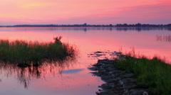 Sunset over the reservoir in Vyshny Volochyok, Vyshnevolotsk district, Stock Footage
