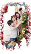 Happy family decorating a christmas tree with boubles Stock Illustration