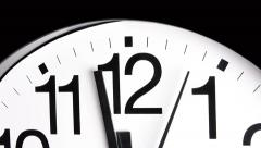 Stock Video Footage of A white analog ticking clock shows the second and minute hands