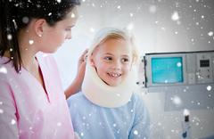 Stock Illustration of Composite image of adorable little girl with a neck brace sitting with her nurse