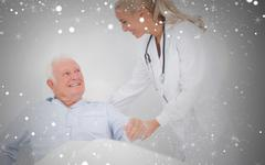 Composite image of doctor helping elderly man to sit up - stock illustration