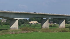 Box Girder Bridge Cortenoeversebrug, spanning the river IJssel - medium shot - stock footage