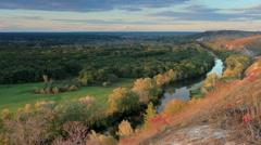 Timelapse sunset on the river Seversky Donets. Donetsk region, Novorossia Stock Footage