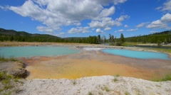 Black opal pool in biscuit basin, yellowstone Stock Footage