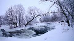 Winter scenic of the River Krynka, Donetsk region, Novorossia. Full HD Stock Footage