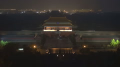 Aerial view Forbidden City illuminated landmark palace Beijing night tourism  Stock Footage