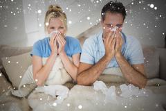 Composite image of couple suffering from cold in bed - stock illustration