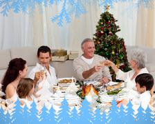 Grandparents and parents toasting in a christmas dinner - stock illustration