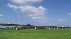 Box Girder Bridge Cortenoeversebrug, spanning the river IJssel and floodplains Stock Footage